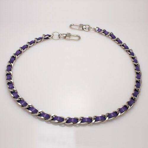 Purse chain leather strap Silver handle shoulder crossbody handbag metal