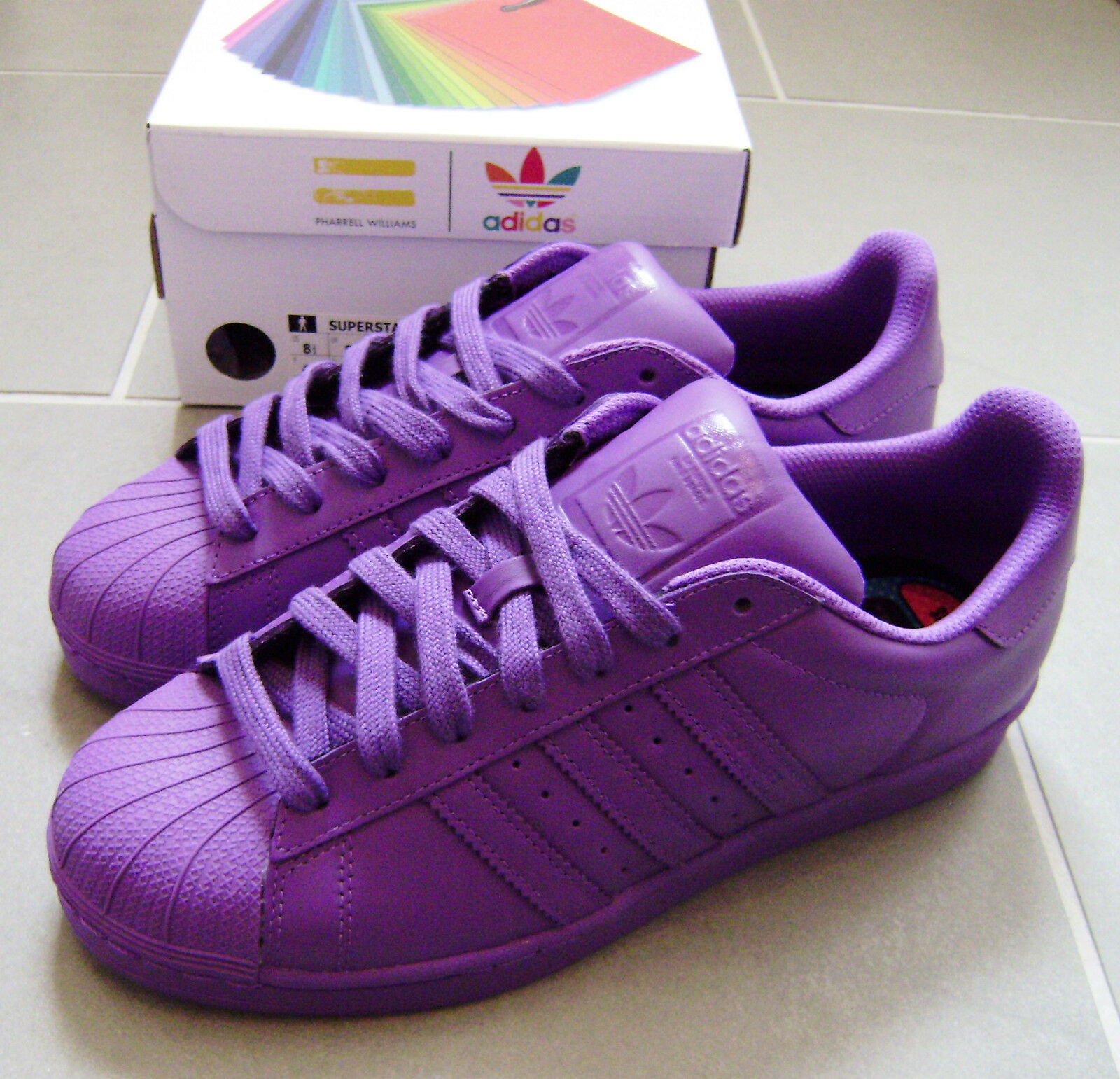 Adidas NEW Superstar Pharrell Williams Shoes NEW Adidas Purple Size 9 Sold Out es etnies 557a02