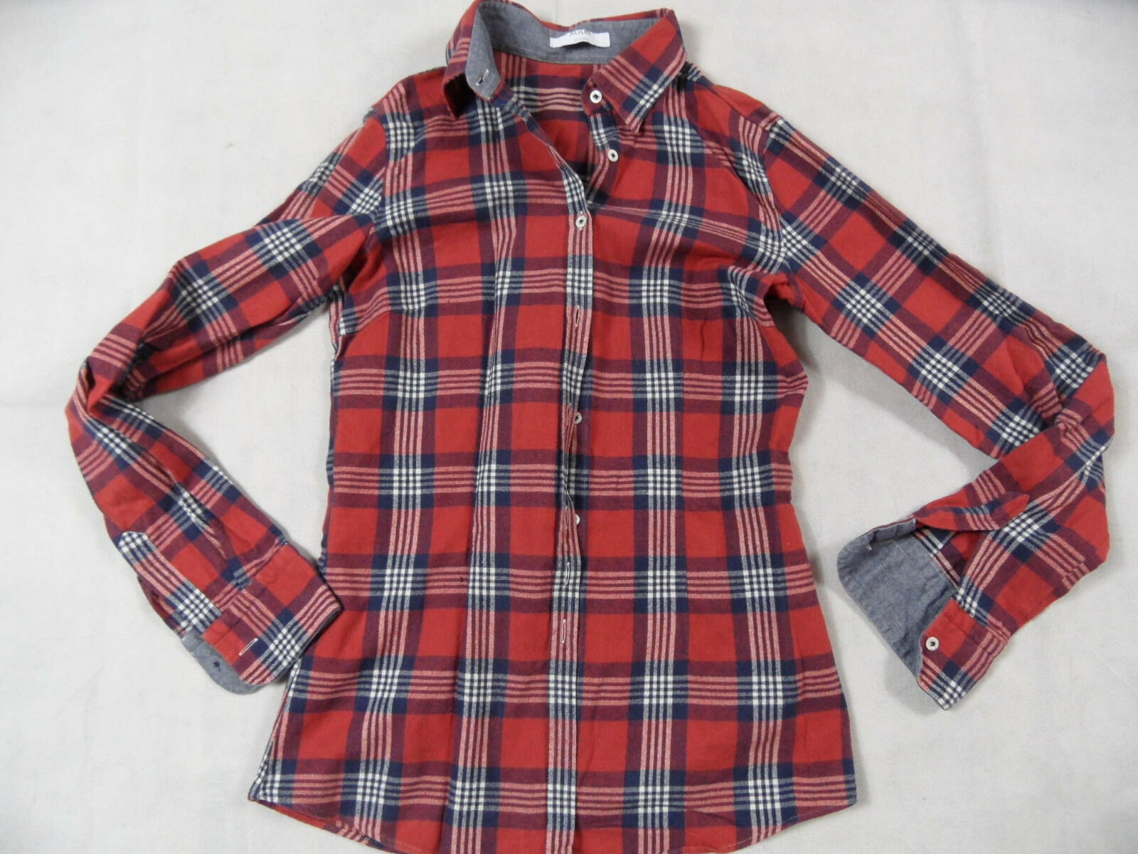 AGLINI bella conti Flanella Camicia Rosso Blu Bianco Tg. IT 42 Top bi1118