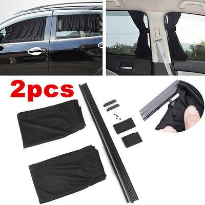 1Pair Adjustable Black Car Side Window Rails Sunshades Curtain UV Sunshade Visor