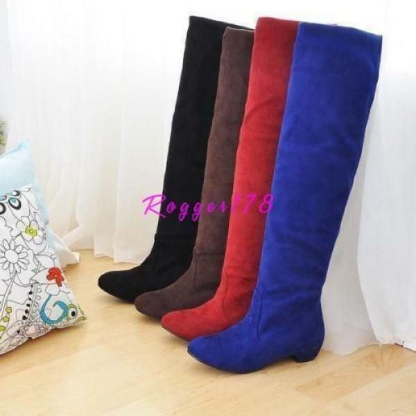 Lady womens Knee high Riding faux suede boots Cuban heel Slouch Pull On Boots