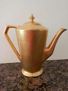 """PICKARD Gold Gilt Porcelain Coffee Pot w Lid 7.5"""" Embossed Floral Design"""