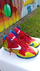 f3b86fabfdec3 Image is loading Nike-Lebron-11-Superman-NikeID-Custom-Shoes-Sz-