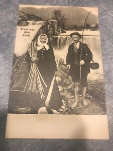 rppc-postcard-Old-Fishing-Elderly-Couple-In-Front-Of-Waterfall
