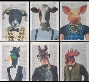 6x animals in clothes prints vintage dictionary page cool