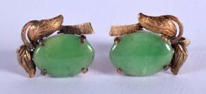 Un-impresionante-par-de-oro-18CT-montado-jadeita-Vintage-pendientes