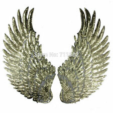 2 x Large Gold Sequin Wings Sew On Embroidered Patch Badge for Kids Clothes