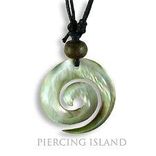 Halskette Anhänger Kette Maori Muschel Perlmutt Spirale Surf Design N146