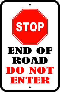 "/""STOP END OF ROAD DO NOT ENTER/"" CUSTOM PARKING ALUMINUM SIGN 12/"" x 18/"""