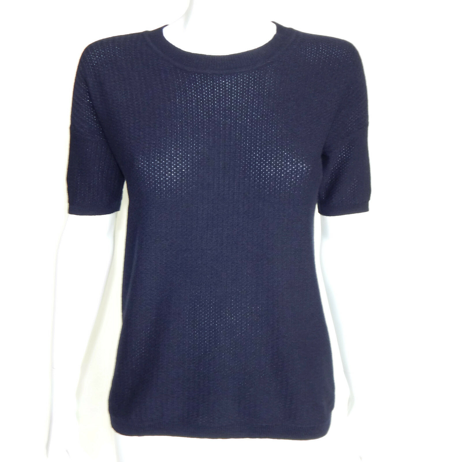 J. CREW COLLECTION Italian Cashmere bluee Perforated Short Sleeve Sweater XS 1935