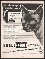 Publicité SHELL  Station Service Motor Oil  CHAT NOIR BLACK CAT ad 1960 -11h