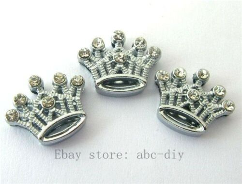 50pcs 8 mm Full Strass Couronne Slide Charms Fit Pet Collier Bracelets