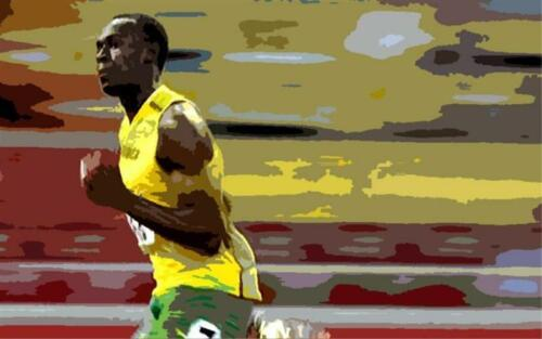 Usian Bolt OIL PAINTING 40X28 framed.not giclee popart