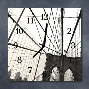 Glass-Wall-Clock-Kitchen-Clocks-30x30-cm-silent-Brooklyn-Bridge-Grey