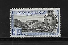 1938 ASCENSION ISLAND STAMP 4D UNUSED PERF 13.5 BLACK AND ULTRAMARINE