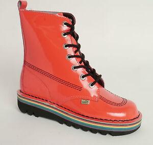 KICKERS-rose-Patent-Kick-So-Xtra-Hi-Bottes-vernies-en-cuir-Rose-UK-4-EUR-37-35