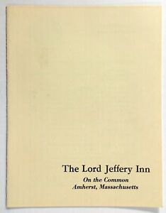 1970's Vintage Dinner Menu THE LORD JEFFERY INN On The Common Amherst MA