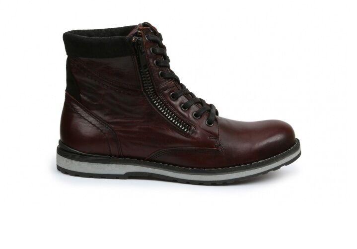 GBX Uomo Dern 57687 Pelle Side Zip Lace Up Ankle Stivali Burgundy Size 13 M