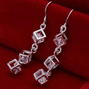 Boucles-d-039-oreilles-en-chaine-en-cristal-plaque-argent-avec-bijoux-en-argent