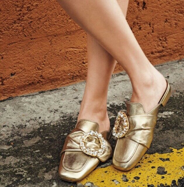 Miu Miu by PRADA oro Leather Crystal Buckle Slides sautope