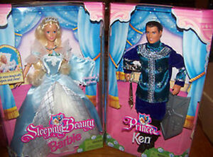 Sleeping-Beauty-Barbie-Doll-Prince-Ken-Rare-Together-Fairy-Tale-Mattel-Lot-2-EXC