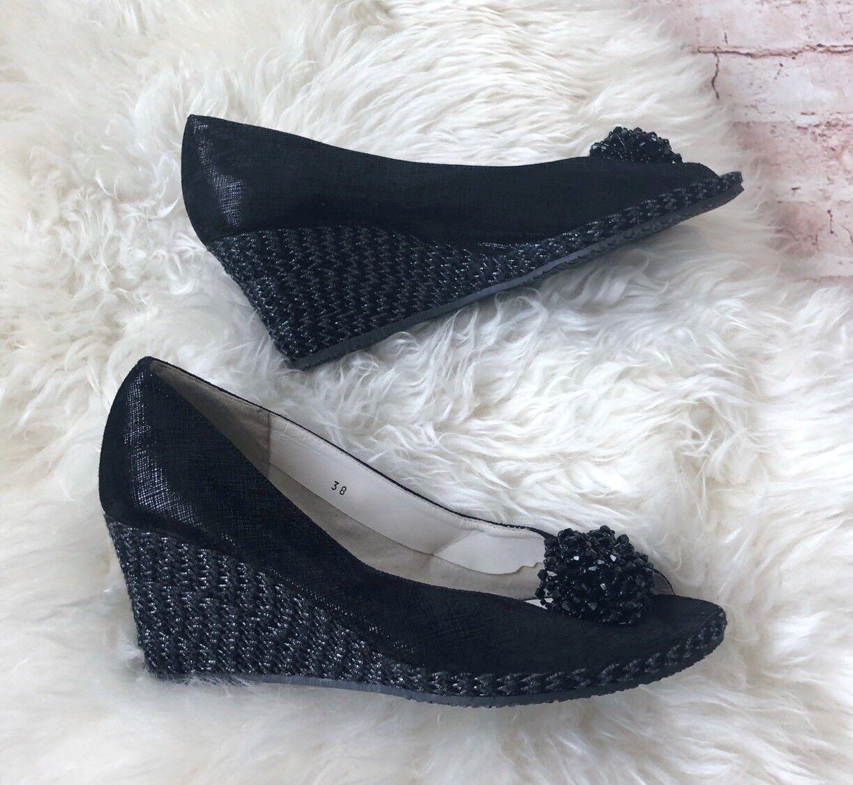 in vendita Gasuccio&Scalera Eu 38 8 Donna  scarpe Peep Peep Peep Toe nero Leather Textile Platform  garantito