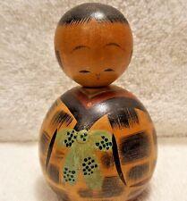 "Carved & Painted  Kokeshi Vtg Wooden Japanese Nodder Doll  4"" tall"