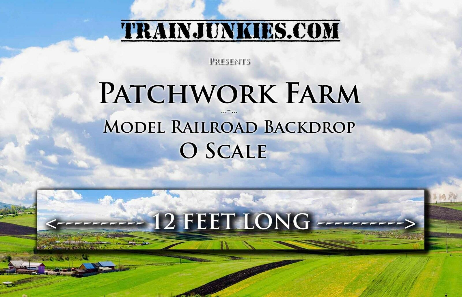 Train Junkies O Scale  Patchwork Landwirtschafts  Modelll Railroad Backdrop 24x144