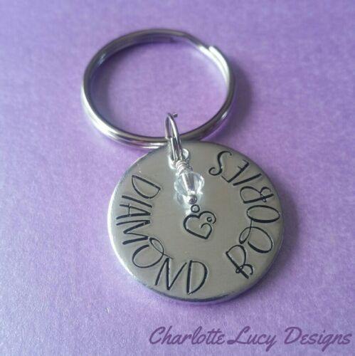 Diamond boobies breastfeeding award keyring awareness stamped new mummy gift 2yr
