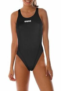 410cb252d254 Arena Solid Swim Tech High Swimsuit Womens Open Back Athletic ...