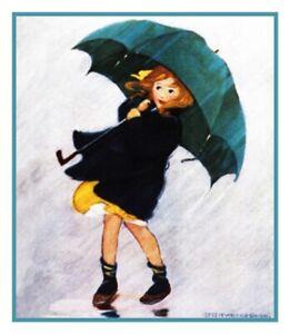 Jessie-Wilcox-Smith-Jeune-Fille-Pluie-Parapluie-Point-de-Croix-Tableau-Motif