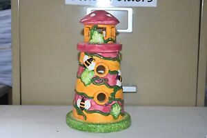 """Ceramic Lighthouse Bees Painted Tealight Candle Holder 7.5"""" Tall LH-91"""