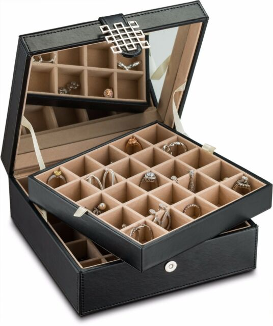 Earring Organizer Holder 50 Slot Jewelry Box Case For Earrings Black