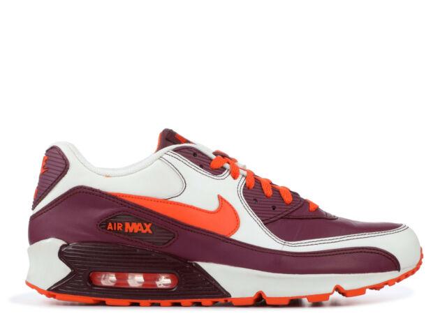 2007 Nike Air Max 90 Leather OG SZ 10.5 Sail Orange Blaze Deep Garnet 302519 181