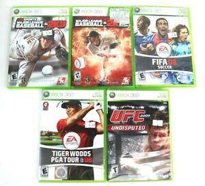 Lot-Of-5-Sports-Games-Xbox-360-Fifa-08-UFC-2009-Tiger-Woods-08-MLB-2K12-2K9