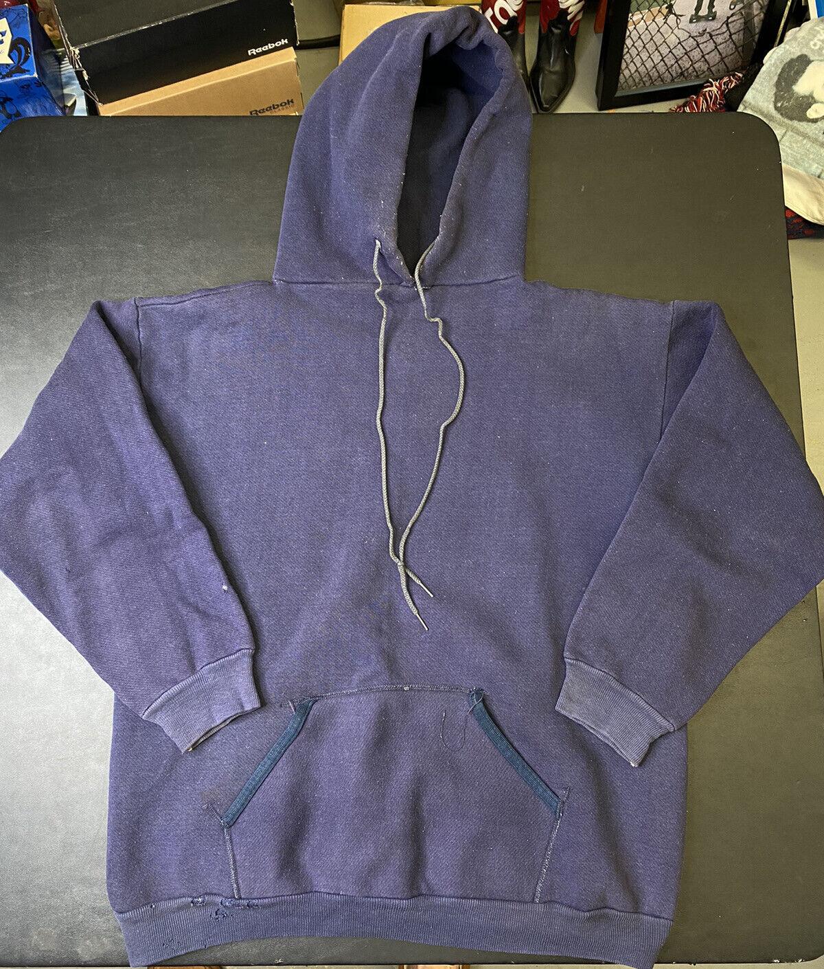 Vintage 70s Russell Athletic Hooded Sweatshirt Bl… - image 1