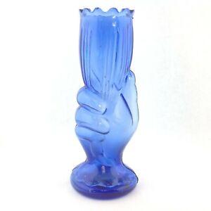 Single-Vintage-Art-Deco-Glass-Blue-Hand-Holding-Floral-Vase-Horn