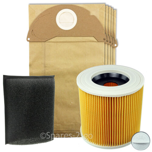 KARCHER Vacuum Cleaner Filter /& 5 Bags Wet /& Dry Hoover Foam Filters A2004 A2024