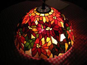 Antique-Art-Glass-Lamp-24-034-Poinsetta-Tiffany-Design