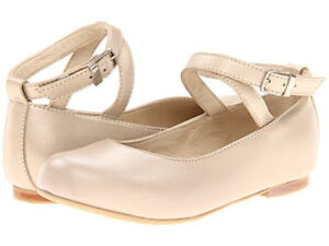 Image is loading ELEPHANTITO-Champagne-Leather-Ballet-Flats-Mary-Jane-Ankle-