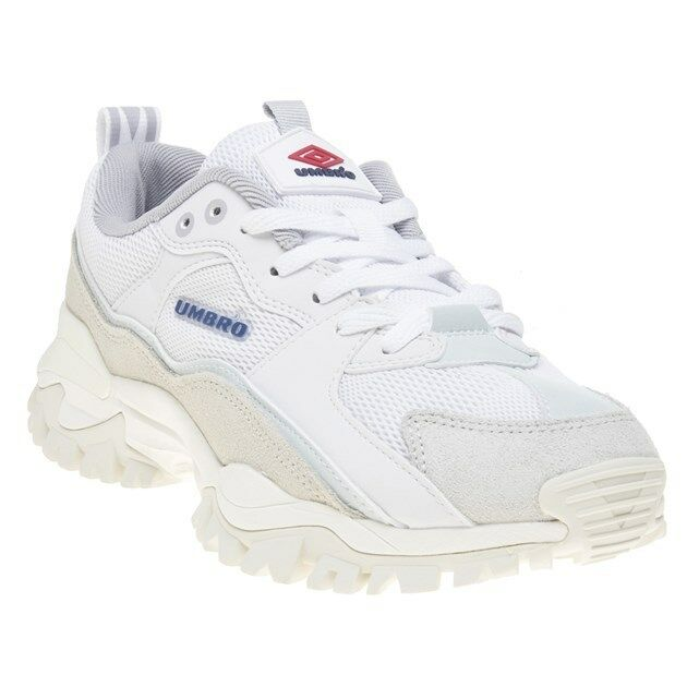 New MENS UMBRO WHITE BUMPY LEATHER Sneakers CHUNKY SNEAKERS