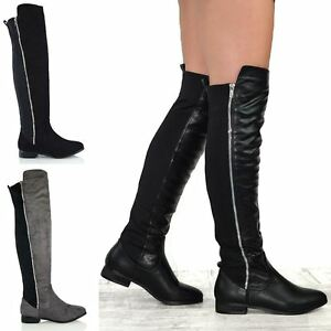 Womens-Over-The-Knee-Stretch-Ladies-Zip-Trim-Biker-Riding-Boots-Size-3-8