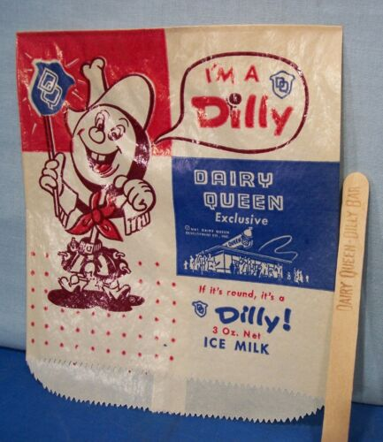 Dairy Queen ~ 1950's Dilly Bar Packaging Set ~ Bag & Stick