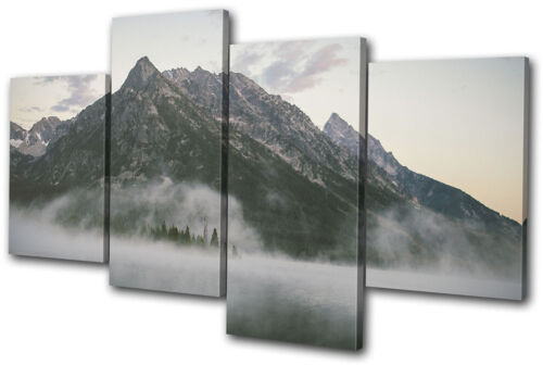 Mountain Lake Mist Nature Landscapes MULTI CANVAS WALL ART Picture Print