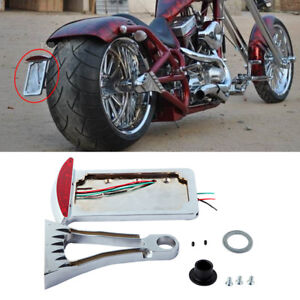 Motorcycle Chrome Vertical Axle Side Mount License Plate Bracket
