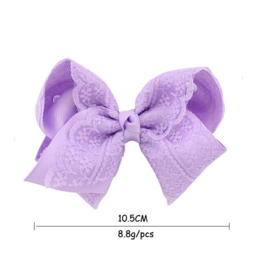 Girls Baby Grosgrain Hair Bow Alligator Lace  Hair Clip Hair Accessor TFSU