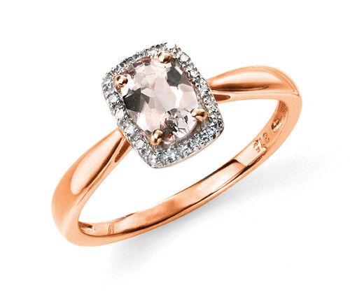 Designer - Elements gold - 9ct pink gold Pink Morganite & Diamond Ring