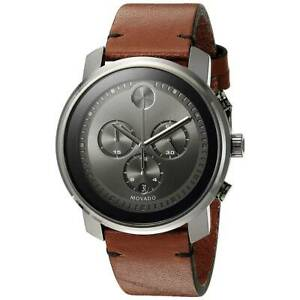 Movado Men's Watch Bold Chronograph Grey Dial Brown Leather Strap 3600367