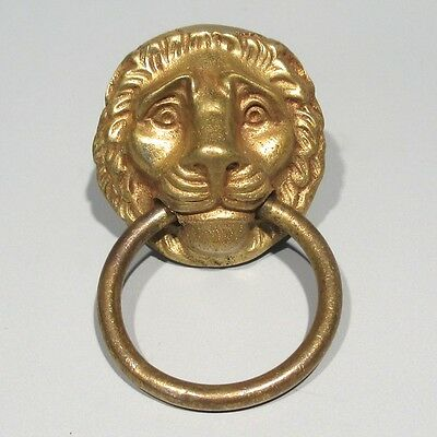 Antique Brass Ornate Gilt Lion Head Drawer Pull Early Victorian