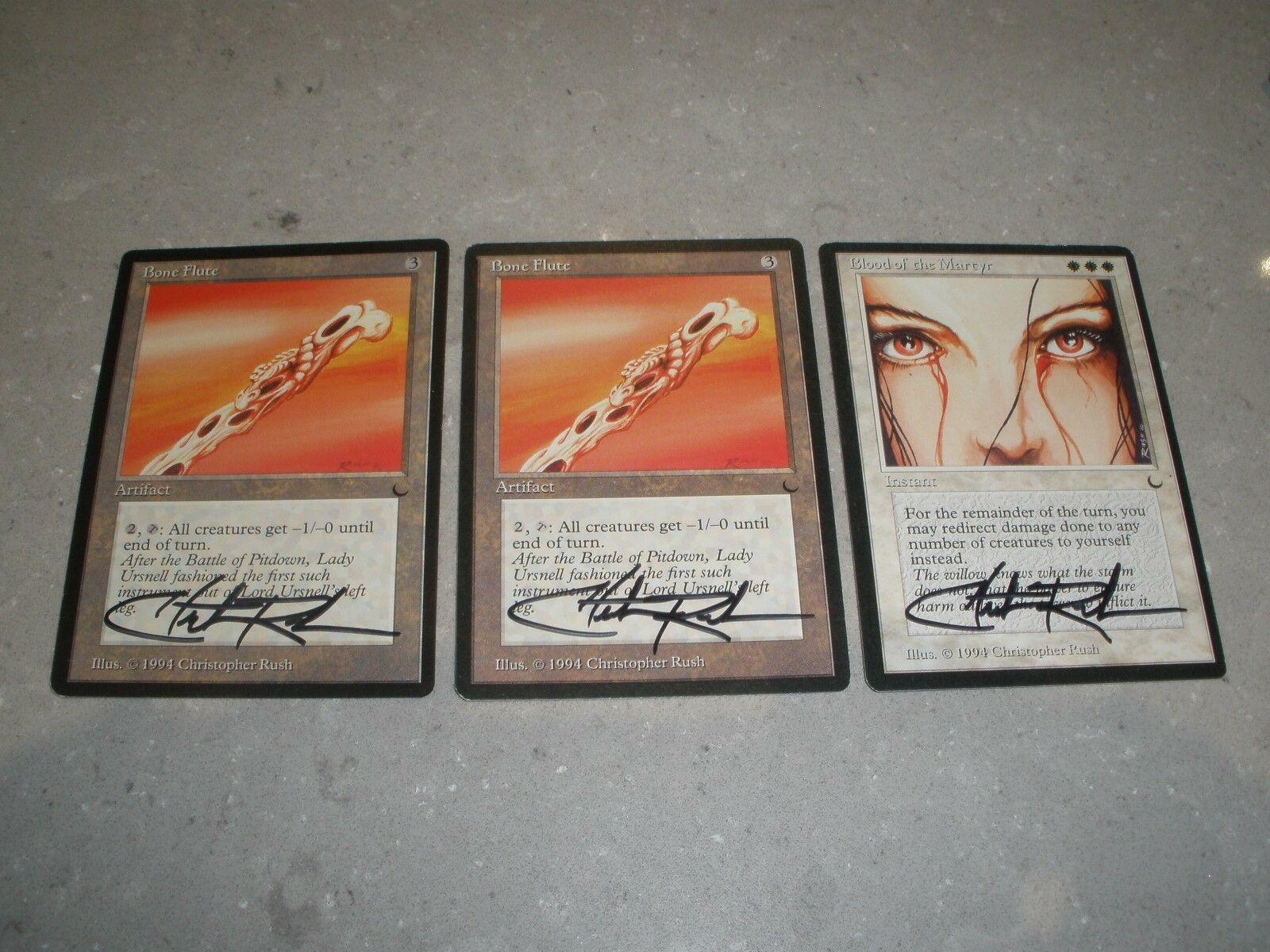 MTG Magic Artist Christopher Rush Signed Blood of the Martyr x1 Bone Flute x2 NM